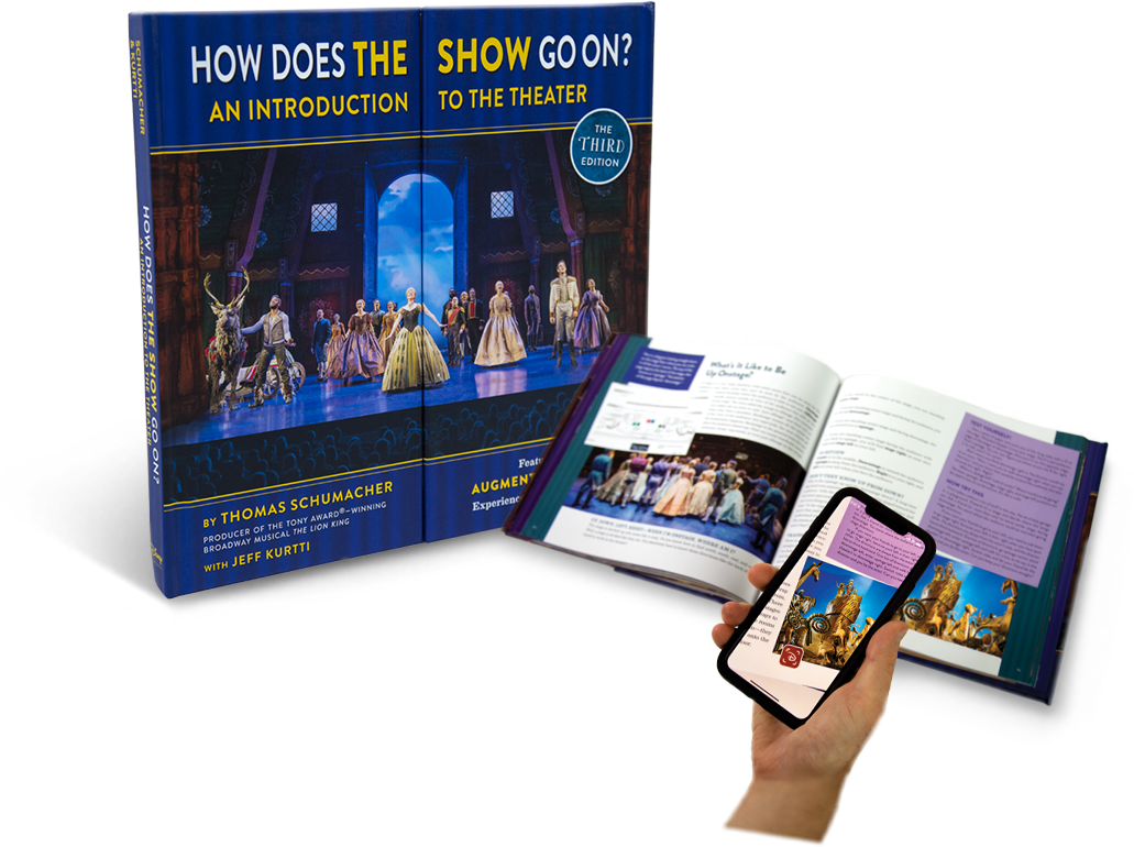 "The front cover and interior page shot of the book ""How Does The Show Go On?"""